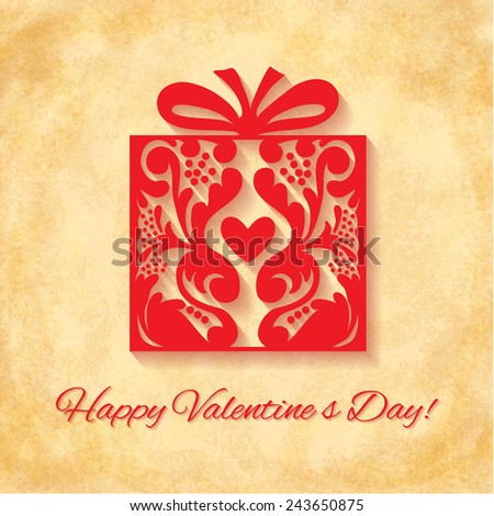 Paper Ornate Gift with Heart on vintage background. Happy Valentines Day Greeting card. Suitable for various designs, invitation and scrapbook. Vector illustration EPS 10 - stock vector