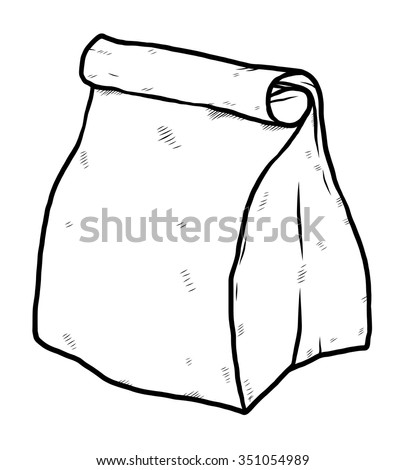 paper package bag / cartoon vector and illustration, black and white, hand drawn, sketch style, isolated on white background. - stock vector