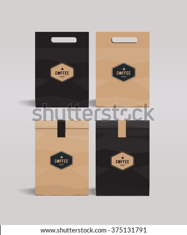 paper package mock up design .cafe and restaurant  package . badge coffee logo - stock vector