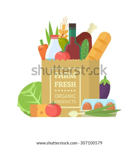 Paper package with fresh healthy produce. Organic products from the farm. Vegetables, bread, dairy products, vine, meat and eggs. Vector flat design illustration - stock vector