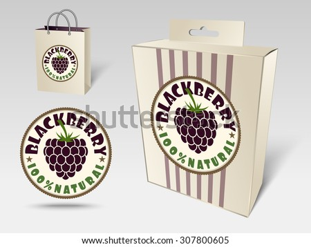 Paper packaging and labels for fruit, blackberry - stock vector