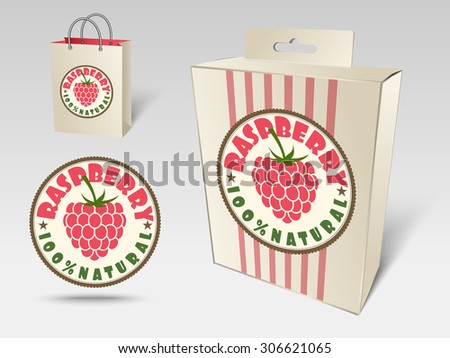 Paper packaging and labels for fruit, raspberry - stock vector