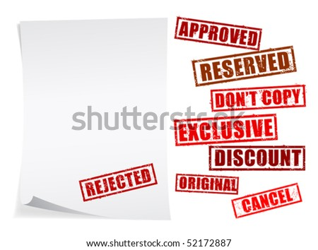 Paper page and set marks over white background - stock vector