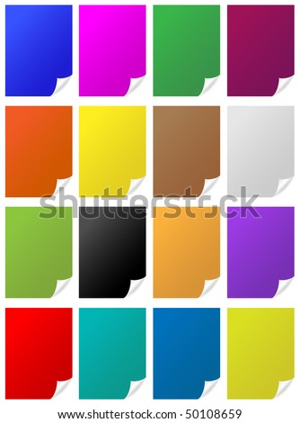Paper page curls - stock vector