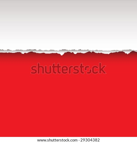 Paper page with tear and shadow with red background - stock vector