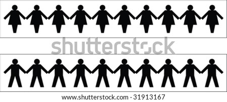 Paper people pattern 1 - stock vector