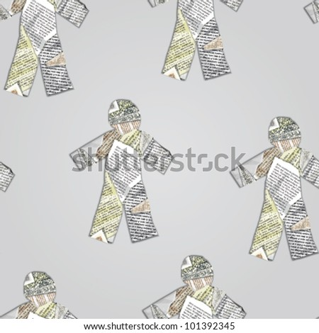 paper people. vector seamless pattern - stock vector