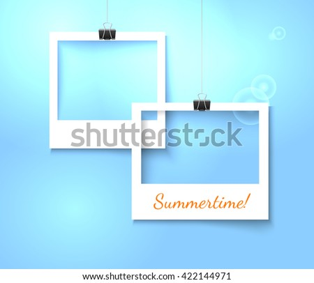 Paper photo frames composition. Vector template with photo frames on bright blue background for summer design. Photo frames realistic vector illustration. Art gallery template with photo frame - stock vector