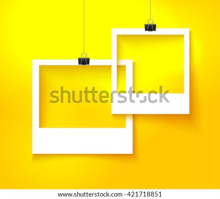 Paper photo frames composition. Vector template with photo frames on bright orange background for summer design. Photo frames realistic vector illustration.  - stock vector