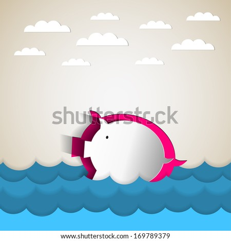 Paper pig bank drowning  - Illustration of debt and keeping your financial head above water represented by a piggy bank - stock vector