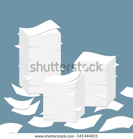 Paper pile flat illustration. Paperwork. Office routine.