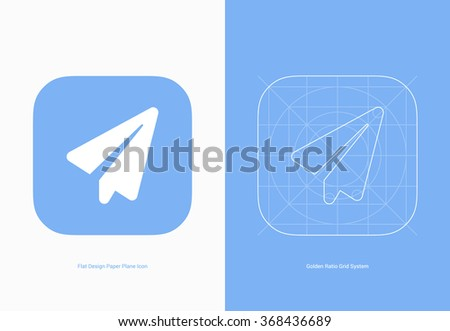 Paper plane app icon is adopted a golden ratio grid system and a trend of flat design suitable for mobile applications, UI or other related.  - stock vector