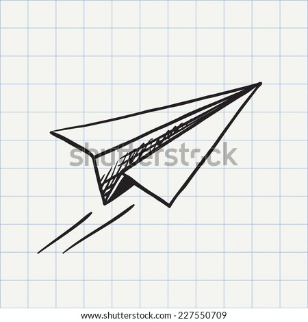 Paper plane doodle icon. Hand drawn sketch in vector - stock vector