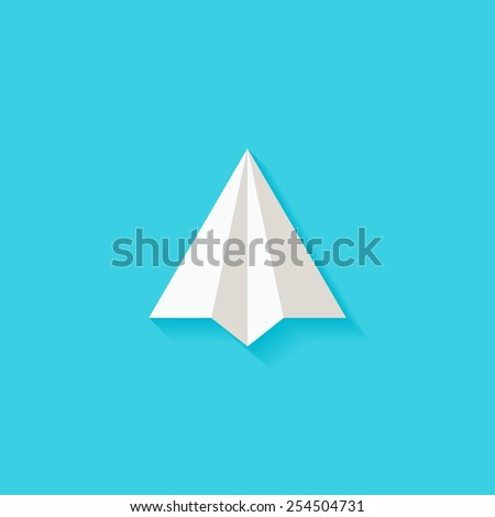 Paper plane flat icon. Modern flat icons vector collection with long shadow effect in stylish colors of web design objects. Trendy Flat Style. Isolated on blue background. Flat design. EPS 10. - stock vector