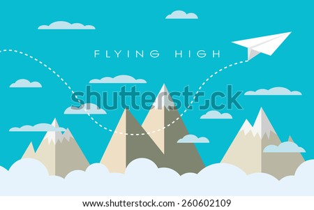 Paper plane flying over mountains between clouds. Modern polygonal shapes background, low poly. Business concept design. Eps10 vector illustration - stock vector