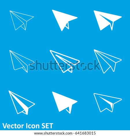 Vector white paper planes on blue stock vector 241584733 paper plane icon malvernweather Gallery