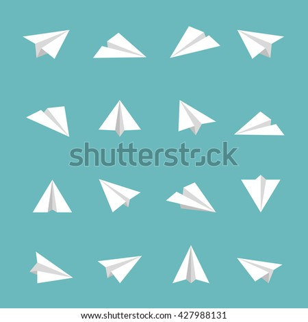 Paper Plane Icon Flat Icons Air Fly Different Other - stock vector
