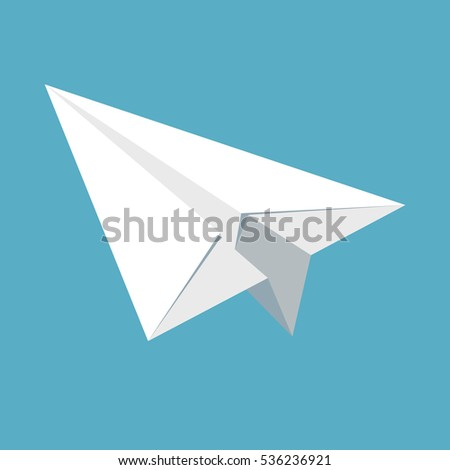 Paper plane icon isolated on blue background. Symbol of a papercraft origami airplane in flat style. EPS8 vector illustration.