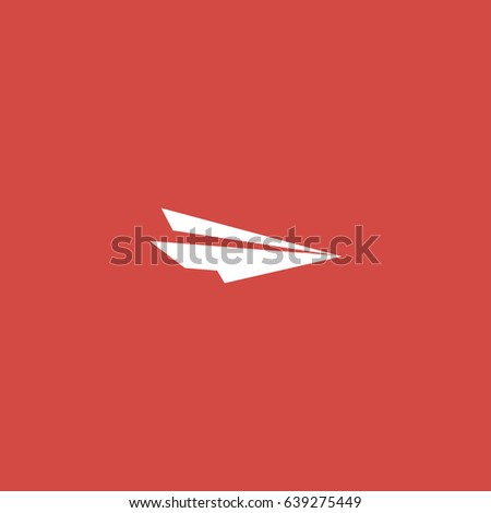 paper plane icon. sign design. red background