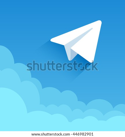 Paper plane in blue sky. Vector illustration of a flat design. EPS 10. - stock vector