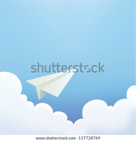 Paper Plane in The Sky - Vector File EPS10