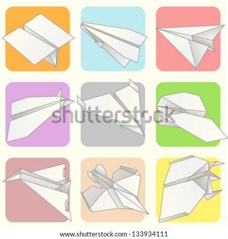 Paper Plane Model Collection Set - stock vector