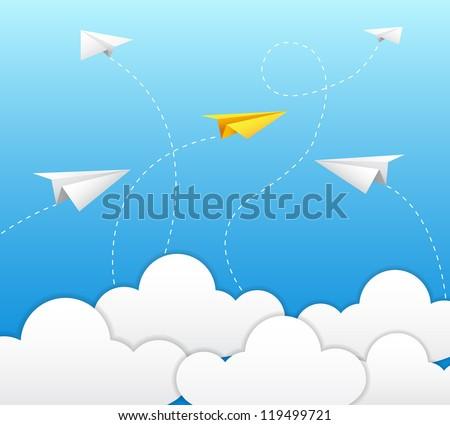 paper plane on blue sky - stock vector