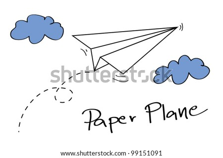 Paper plane on the sky with clouds - Vector - stock vector