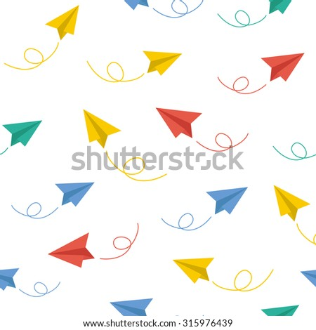Paper plane vector seamless pattern background - stock vector