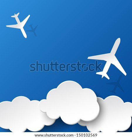 Paper planes and clouds.Background for holidays or your business presentations. Vector illustration - stock vector
