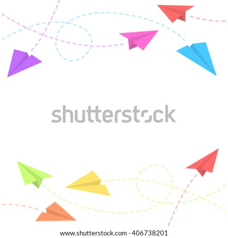 Paper Planes Background - stock vector