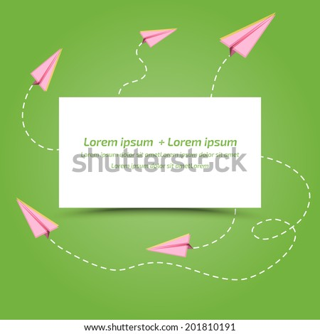 paper planes - background with space for text  - stock vector
