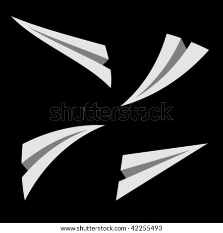 Paper planes flying over black square background