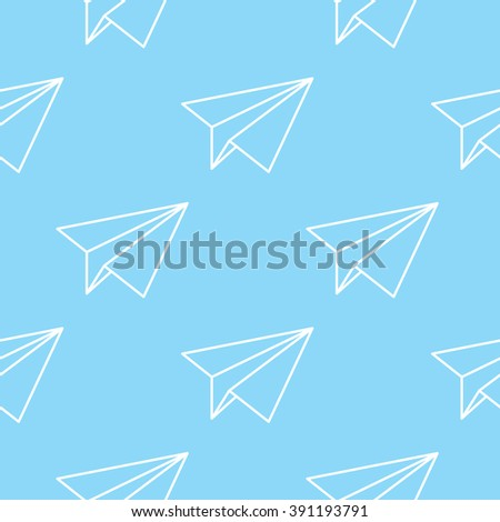 Paper planes seamless pattern. Repeating abstract background with paper planes. Papercraft airplanes texture. EPS8 vector illustration includes Pattern Swatch. - stock vector