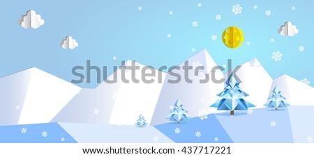 Paper pop up beautiful landscape - snow peaks, trees, snowflakes. - stock vector