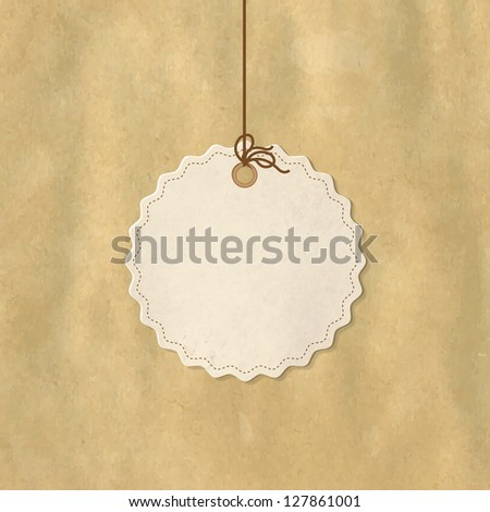 Paper Price Tag, Isolated On White Background, Vector Illustration - stock vector