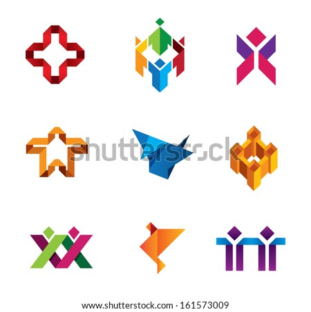 Paper product object of people diversity help social logo and icon  - stock vector