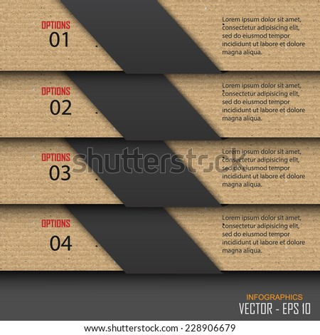 Paper progress steps, Vector design template, Vector illustration