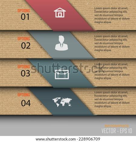 Paper progress steps, Vector design template, Vector illustration  - stock vector