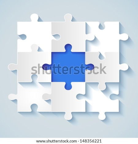 Paper puzzle with a blue the middle for business concepts. EPS 10 - stock vector
