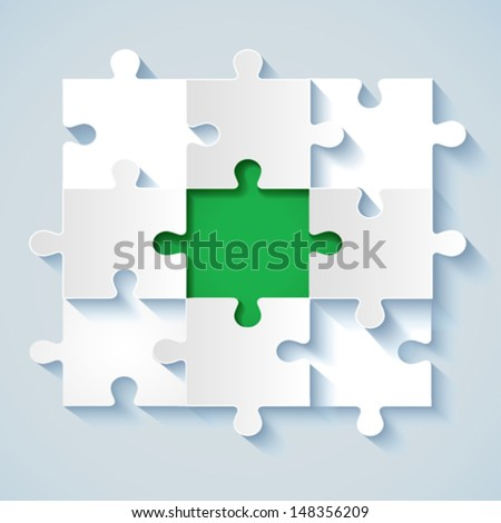 Paper puzzle with green the middle for business concepts. EPS 10 - stock vector