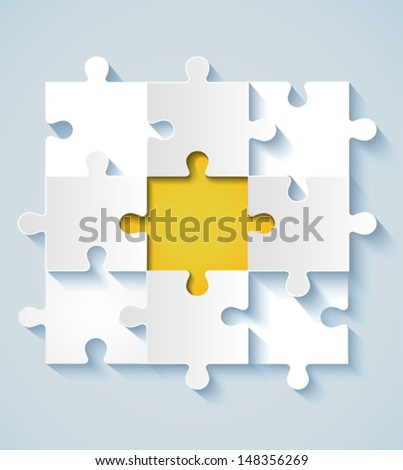 Paper puzzle with yellow the middle for business concepts. EPS 10 - stock vector