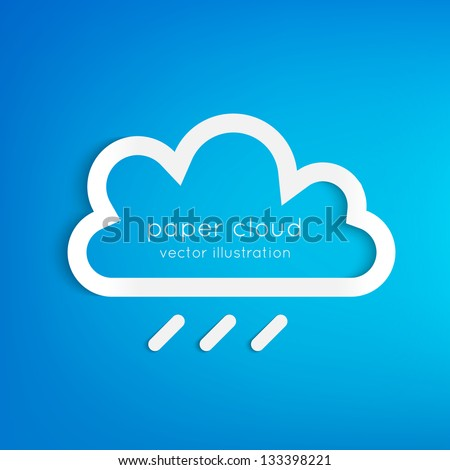 Paper rainy cloud background with place for your text.  Can be used as icon, sign, element for web design. - stock vector