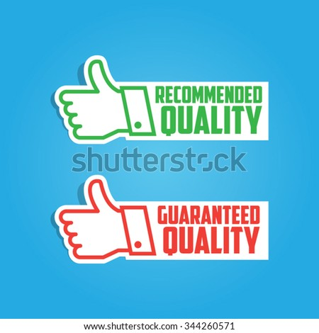 Paper Recommended and Guaranteed Vector Thumbs Up Labels - stock vector