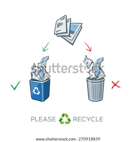 Paper recycling separation waste bins. Simplified scheme illustration in cartoon style of paper waste sorting in two baskets. Throw away the paper in correct trash can. - stock vector