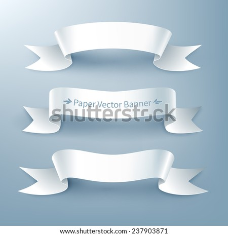 Paper ribbon banner, vector illustration. Isolated. - stock vector
