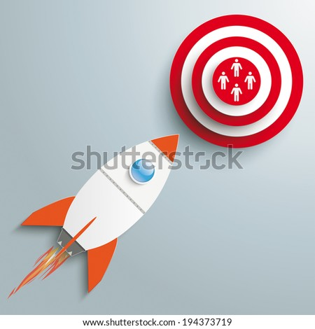 Paper rocket on the grey background. Eps 10 vector file. - stock vector