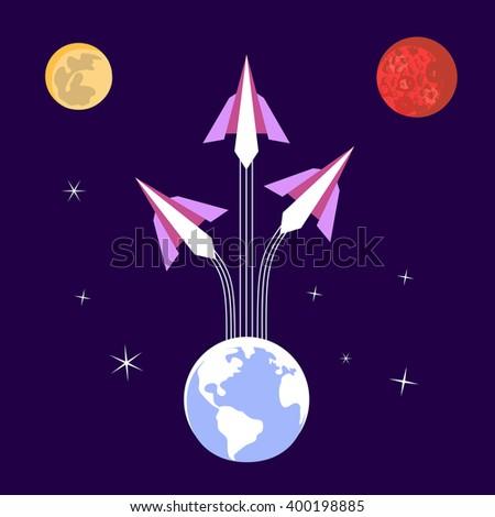 Paper Rockets Flight. Vector origami startup Concept. Flight to solar planets. Journey to space, moon, planet Mars. Human space flight International Day. Cosmos, galaxy, star sky. Vector illustration - stock vector