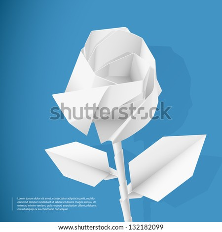 Paper rose - stock vector