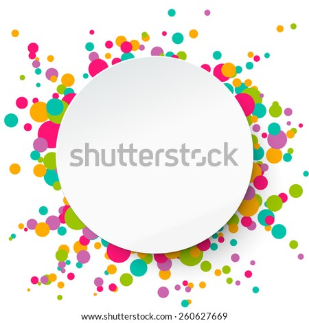Paper round banner on confetti background. Applique style, vector illustration. Template for your text. - stock vector